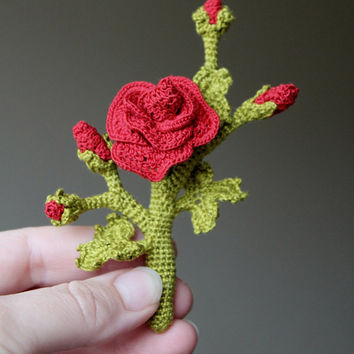 Hand Crochet Brooch Rose, Jewelry, Gift Ideas, Red, Green, Flower, Cotton Yarn, Handmade Jewelry, Valentine's Day, For Her