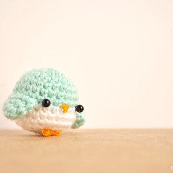 Bird crochet doll, amigurumi blue bird, kawaii charm, kawaii keychain, cute keyring, blue bird