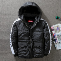 SUPREME street tide brand men and women fight color letters printed thick cotton Cotton-padded jacket coat