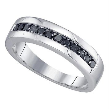 Sterling Silver Men's Round Black Color Enhanced Diamond Wedding Band Ring 1/2 Cttw - FREE Shipping (US/CAN)