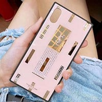 2018 Hot! YSL New Fashion Shiny Water Drill Lipstick Pattern Phone Case Shell For iphone 6 6plus iphone 7 7plus iphone 8 8plus iphone X Pink I12325-1