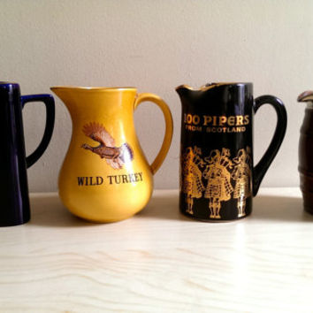 Set of Four Pub Pitchers/ Wild Turkey Pitcher/ Grants 8 Scotch Whiskey / 100 Pipers/ Ambassador Deluxe Scotch/ Pub Jug