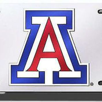 Arizona Wildcats SILVER Deluxe Laser Cut Acrylic License Plate Tag University of