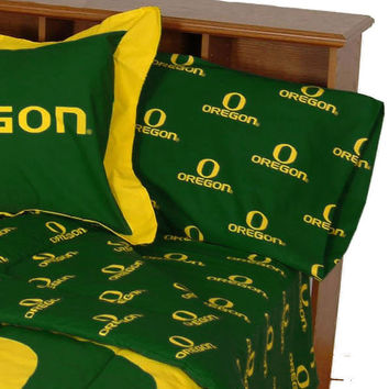 Oregon Ducks Bed Sheet Set Collegiate Green Cotton Bedding: Full