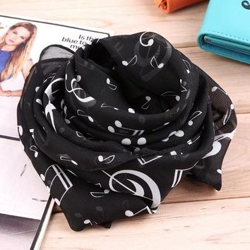 DCCKJG2 New Fashion Musical Note Chiffon Scarves Women's Scarf Shawl Long Stoles Spring Muffler Chiffon Infinity Scarf New Hot Selling