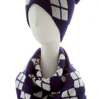 ARGYLE PATTERN KNIT INFINITY SCARF AND BEANIE SET