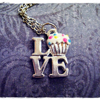 Tiny Vanilla Cupcake Love Charm Necklace in Silver with a Delicate 18 Inch Silver Plated Cable Chain