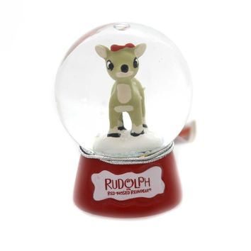 Christmas RUDOLPH SNOWGLOBE Glass Red Nose Reindeer 39225 Clarice