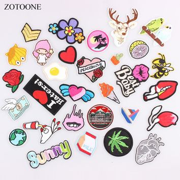 ZOTOONE Flower Animal Heart Letter Food Cartoon Patch Iron on Badge Patches Embroidered Applique Sewing Patch Clothes Stickers B