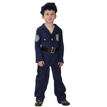 Small Boy's Heroic Police Cosplay Handsome Blue Uniforms Party Costume Halloween Children's Day Stage Performance Clothing