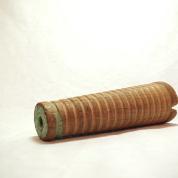 antique thread spool // large wooden spool // sewing room decor