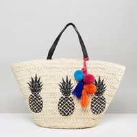 Missguided Pineapple Beach Bag at asos.com