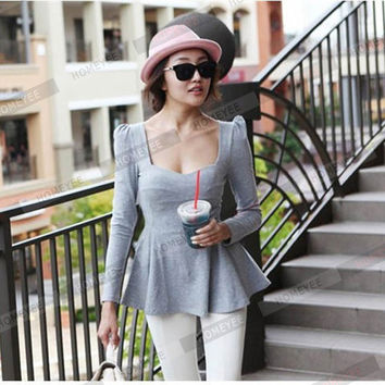 New Fashon America Women Long Sleeve Ruffles Peplum Tops Low Cut Blouse Lady Back Zipper Quality Cas