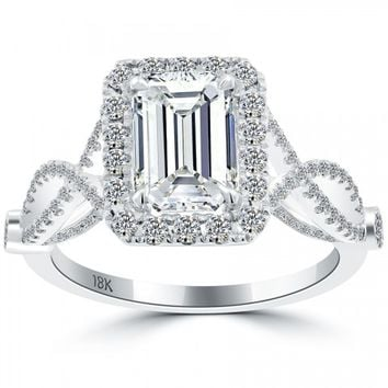 2.68 Carat F-SI1 Emerald Cut Natural Diamond Engagement Ring 18k Vintage Style - Vintage Engagement Rings - Engagement