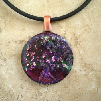 Hand Painted Tree Necklace: Purple - Copper Jewelry - Cord Necklace - Tree Jewelry - Pendant - Boho Jewelry - Tree of Life - Unique Jewelry