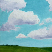 Sunny Field. Original Oil Painting, Landscape Painting, 5x7 Wall Decor, Blue Sky Cloud Painting