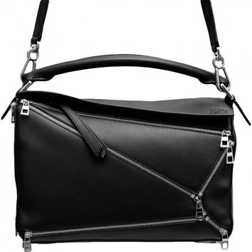 Puzzle leather handbag LOEWE Black
