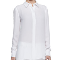 Women's Georgette Button-Down Blouse, White - Vince - White
