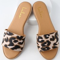 Dawn Camel Leopard Print Slide Sandals