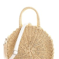 Beige Kiki Circle Straw Bag