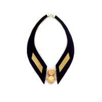 Geometric Gold and black leather necklace.