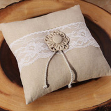 Rustic Burlap and Lace Ring Bearer Pillow