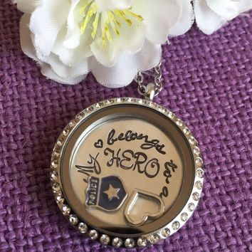 My heart belongs to a policeman - My Hero - Police officer wife Locket - police wife - Locket Necklace - Floating Locket