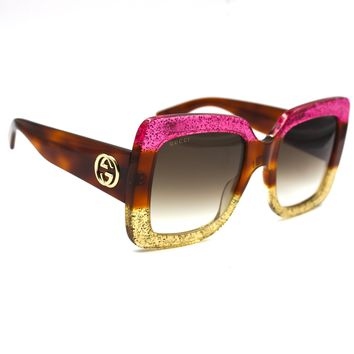 Gucci Sunglasses Square Frame Acetate Pink, Tortoise and Gold GG0083S 002
