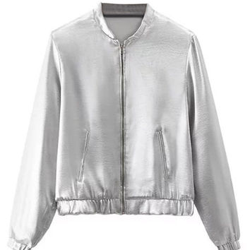 Silver Zip Up Long Sleeve Bomber Jacket