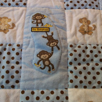 Sale, Baby Boy Monkey Quilt, Boy's Monkey Crib Quilt, Upcycled Baby Clothes Quilt, Monkey Nap Time Quilt, Baby Quilt for Boy, Monkey Head