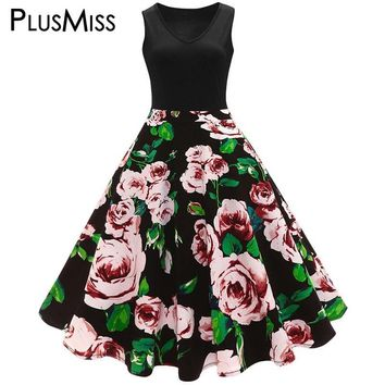 Plus Size 5XL 4XL Floral Printed Midi Vintage Flare Dress Women Summer 2018 Vintage Elegant Sleeveless Swing Dress Big Size