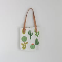 CACTUS Medium Tote Bag Hand Painted