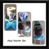 Mad Hatter Top Hat & Bow-Tie-Pugs-Hats For Dogs-Alice In Wonderland-Novelty Dog Hats-Tophats For Dogs-Bowtie For Dogs