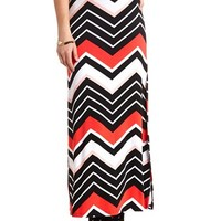 CHEVRON PRINT DOUBLE SLIT MAXI SKIRT
