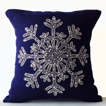 Christmas Pillow -Snowflake -Navy Blue Pillows -Burlap Pillows -Throw Pillows -Christmas Cushion -Silver Sequin Snow Pillows -16x16 -Gift