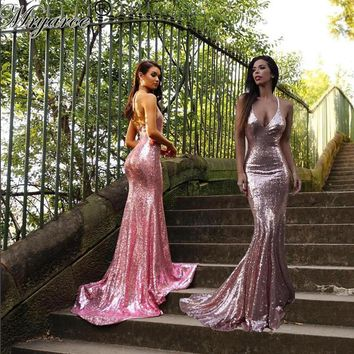 Real Picture Sparkled Rose Pink Sequine Mermaid Prom Dresses Spaghetti Straps Glitter Open Back Long Evening Party Dress