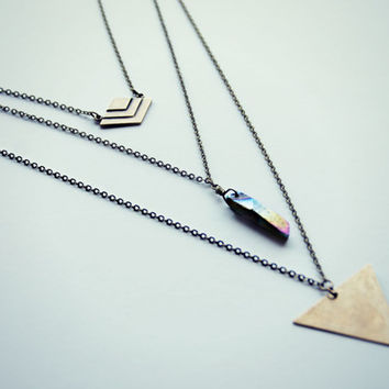 triangle quartz chevron layer necklace, triangle necklace,  chevron necklace, tribal necklace, geometric necklace