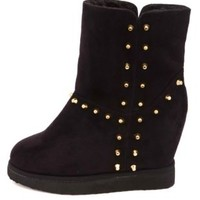 Soda Studded Faux Fur-Lined Wedge Booties by Charlotte Russe