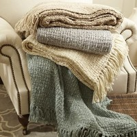 Metallic Knit Fringed Throw