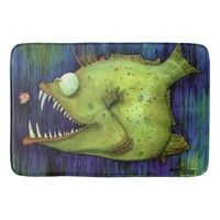 """""""Hungry Ned"""" Fish Watercolor by Mike Quinn Bath Mats"""