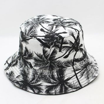 f0ec9a41acaab9 2018 Two Side Reversible Coconut tree Bucket Hat Unisex Printing Hip Hop hat  for women men