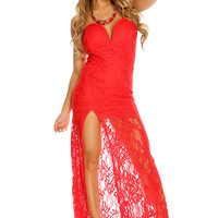 Red Strapless Lace Thigh High Slit Sexy Maxi Dress