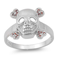 925 Sterling Silver CZ Cyanide Skull Simulated Garnet Ring 15MM
