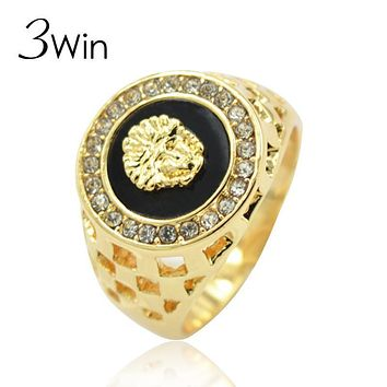WinWinWin Brand Size 7-12 Factory New Hollow Trendy Europe United States Gold Color Male Enamel Lion Head Ring for Men Supplies