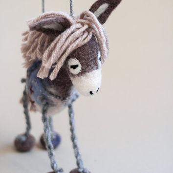 Chantal - Felt Donkey. Art Toy. Felted toy. Marionette. Puppet. Handmade Toys. grey, gray, pale pink, blue. MADE TO ORDER