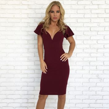 Vixen Midi Dress in Wine