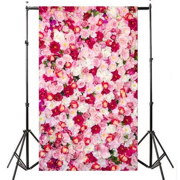 3x5FT Roses Wall Photography Background Backdrop Wedding Children Baby Couple Photo Studio Props Photobooth Props 0.9mx1.5m