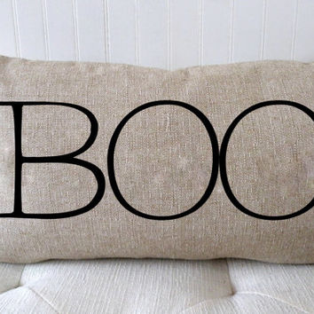 SALE - Halloween Pillow Cover - Halloween Decor - BOO - Burlap Pillow - Decorative Pillow Cover