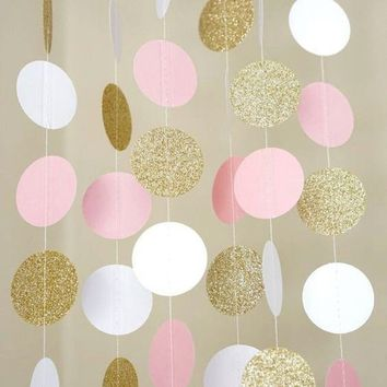 11 Feet Circle Dots Paper Garland Baby Shower Wedding Decor (Champagne gold, Pink, White)
