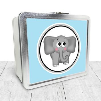 Cute Blue Elephant Lunch Box - Cute Elephant with Light Blue - Tin School Lunch Art Craft Supplies Box - Chalkboard inside - Made to Order